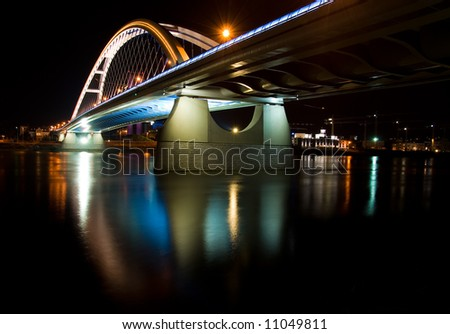 Apollo bridge in Bratislava in Slovakia in the night - stock photo