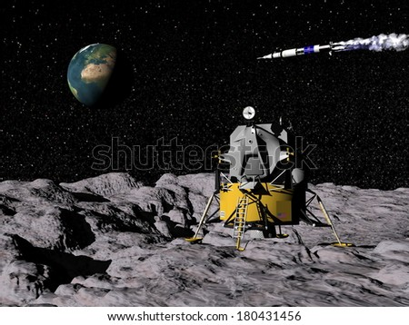 Apollo on moon surface, saturn V in the background with earth - Elements of this image furnished by NASA