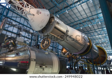 Apollo/Saturn V center at NASA's Kennedy Space Center CAPE CANAVERAL, FLORIDA November 1th, 2014. Orlando, Florida. This is the rocket used to go to the moon in 1969.  - stock photo