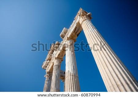 Apollo temple ruins in Side -Turkey - stock photo