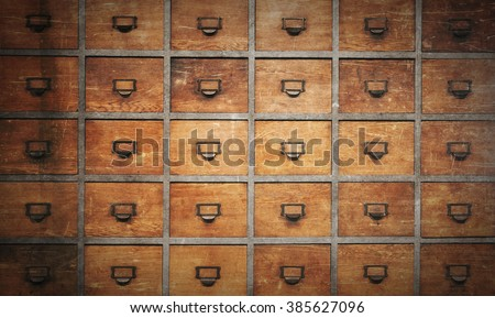Apothecary wood chest with drawers, 30 drawers, vintage look - stock photo