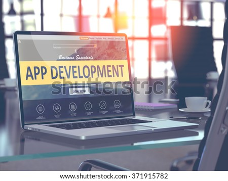 App Development Concept Closeup on Laptop Screen in Modern Office Workplace. Toned Image with Selective Focus. 3d Render.