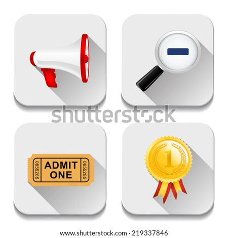 app icons, illustration of application icons set - stock photo