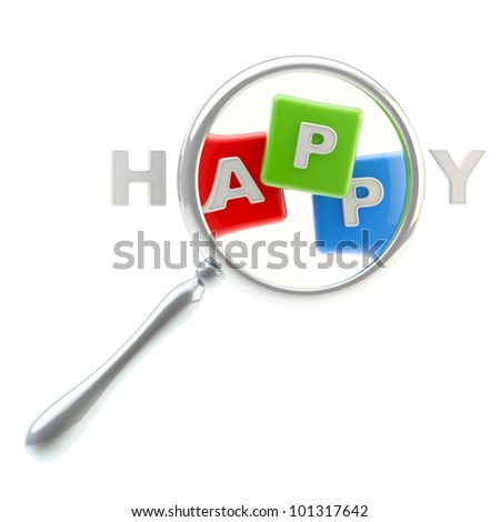 """App symbol under the magnifier as the part of word """"happiness"""" isolated on white - stock photo"""