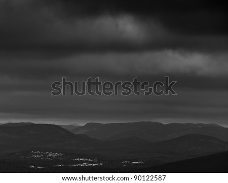 Appalachian mountain view from North america Quebec Canada. Black and white low key photography. - stock photo