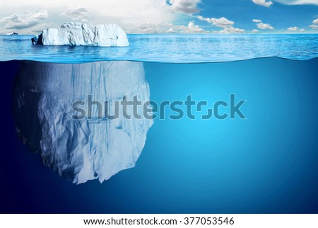 apparently cheating, very big underwater iceberg in middle of the ocean  - stock photo