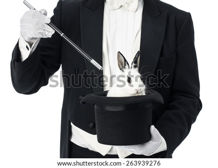 Appearance of rabbit inside magician top hat - stock photo