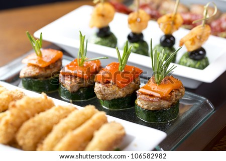 appetizer / delicious finger food with grilled pork and pepper - stock photo