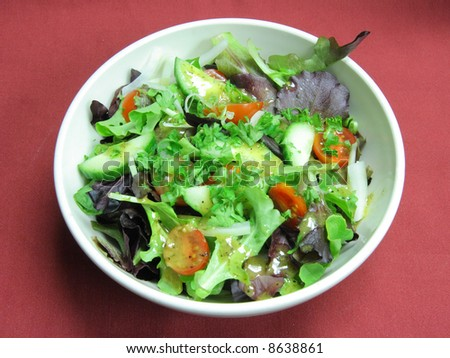 Appetizer - green salad with oil dressing