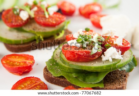 Appetizer Mini Vegetarian Sandwiches - stock photo