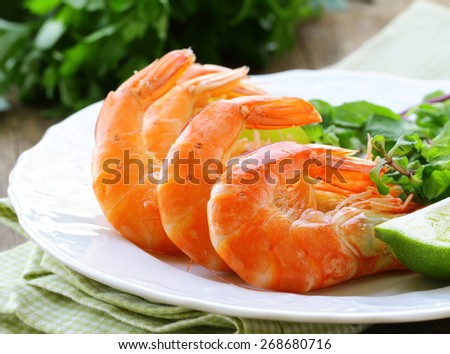 appetizer of shrimp with herbs and spices - stock photo