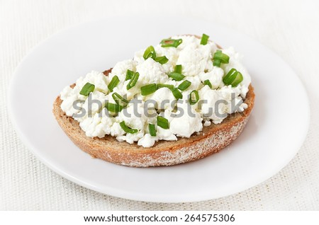 Appetizer with curd cheese and green onion on white plate, close up - stock photo
