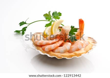 Appetizer with pink shrimps - stock photo