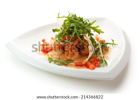 Appetizers -  Fried Tiger Shrimps with Sliced Tomato and Sauce - stock photo