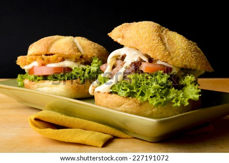 Appetizing fish and beef burgers  - stock photo