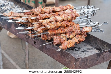 Appetizing fresh meat shish kebab (shashlik) prepared on a grill wood coal, outdor - stock photo