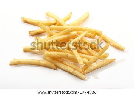 appetizing fried potatoes over white background