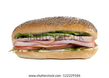 Appetizing ham sandwich isolated in a white background