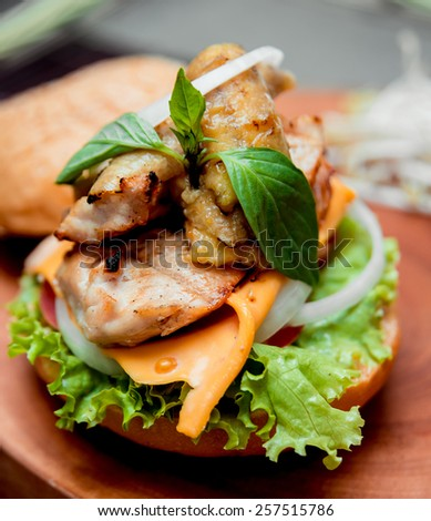 Appetizing hamburger with cheese and vegetables. Barbecue. restaurant