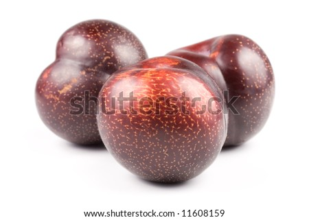 Appetizing juicy plum isolated on a white background