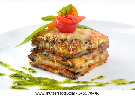 appetizing lasagna on a white background - stock photo