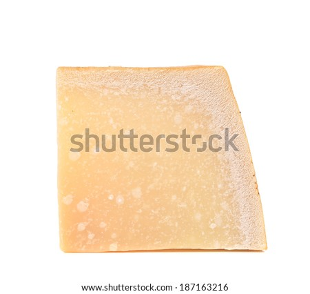 Appetizing parmesan cheese. Isolated on a white background.