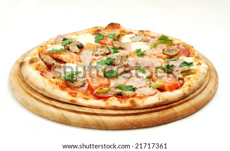 Appetizing pizza isolated on white. Look for more in MY PORTFOLIO - stock photo