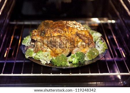 appetizing roast turkey and cabbage in the oven - stock photo