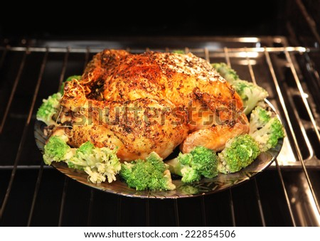 appetizing roast turkey and potatoes in the oven - stock photo