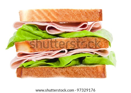 appetizing sandwich isolated on white background - stock photo