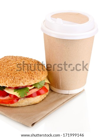 Appetizing sandwich with coffee in disposable cup isolated on white - stock photo