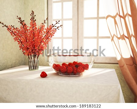 appetizing strawberries on table in the plate - stock photo