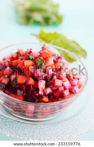 appetizing vegetarian salad of boiled vegetables in a bowl