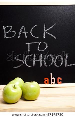 apple, abc, back to school - stock photo