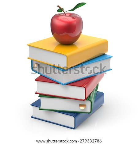 Apple and books stack colorful textbooks education studying reading learning school college knowledge literature idea icon concept. 3d render isolated on white - stock photo