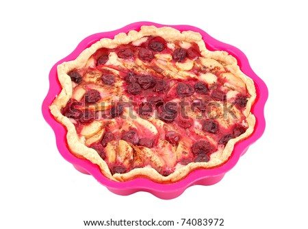 Apple and cherry pie in silicone pan, isolated on white background - stock photo