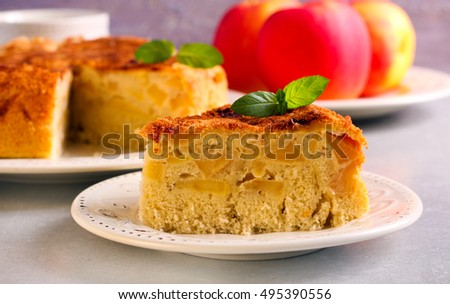 Apple and cinnamon cake slice, served on plate
