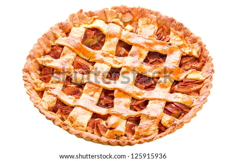 Apple and cinnamon tart isolated over white - stock photo