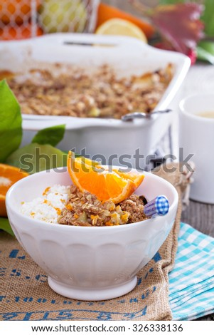 Apple and citrus crumble with oats and orange zest