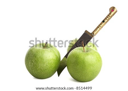 apple and knife on white - stock photo