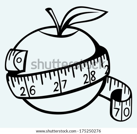 Apple and measure tape. Image isolated on blue background. Raster version - stock photo