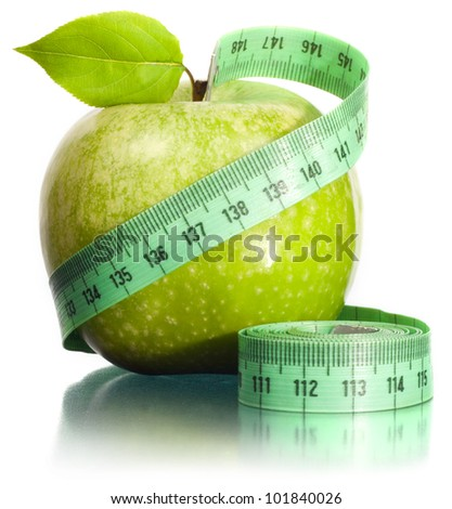 Apple and measurement. A slender figure.