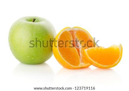 Apple and orange isolated on a white background - stock photo