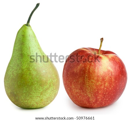 Apple and pear isolated on white background - stock photo
