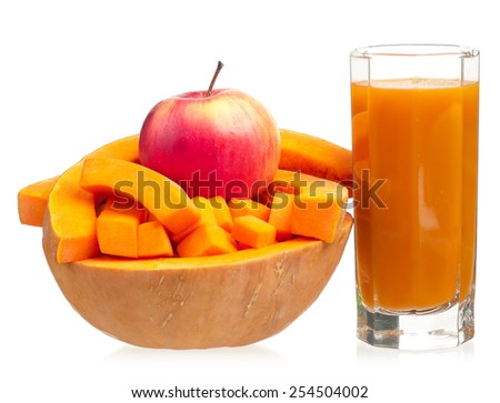 Apple and pumpkin juice with tape measure isolated on white background