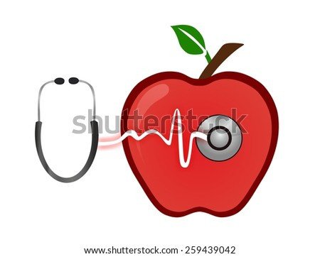 apple and stetoskop on a white background - stock photo