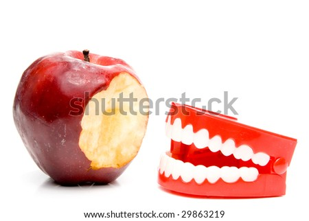 Apple and Teeth - stock photo