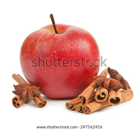 Apple, anise and cinnamon isolated on white
