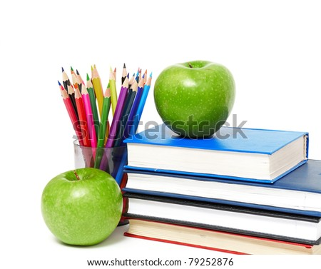 apple, books and colored pencil, back to school concept - stock photo