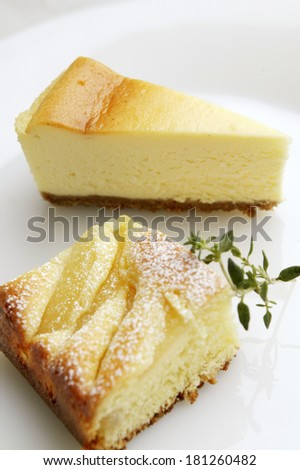 Apple cake and cheesecake